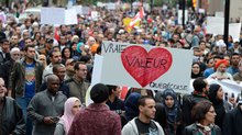 Demonstrators take part in a protest against Quebec's proposed Values Charter in Montrealon Saturday Sept. 14, 2013. (Ryan Remiorz/THE CANADIAN PRESS)