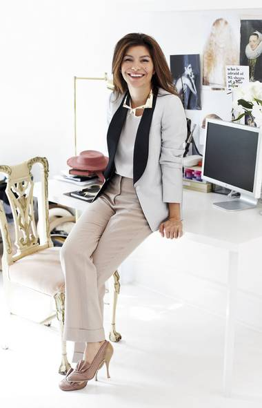 <p>Accessories designer Maryam Keyhani wears one of her sharp-edged metal necklaces in her Toronto studio.</p>