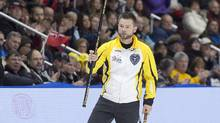 Manitoba skip Mike McEwen heads from the ice after defeating Quebec 5-2 in draw 17 action at the Tim Hortons Brier. (Andrew Vaughan/THE CANADIAN PRESS)