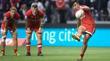 Canada's Nathan Hirayama kicks a conversion to defeat France during World Rugby Sevens Series' Canada Sevens bowl final action, in Vancouver, B.C., on March 13, 2016. (DARRYL DYCK/THE CANADIAN PRESS)