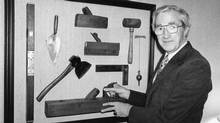 Donald Smith of construction company EllisDon shown here with a collection of early carpenter tools in 1982. (John Wood For The Globe and Mail)