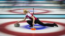 Alexandra Saitova a members of the Russian curling team during a match in Sochi February 14, 2014. (John Lehmann/The Globe and Mail)