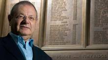 Historian Sir Martin Gilbert, whose latest book examines the battle of the Somme, stands in front of the memorial to the fallen Canadian soldiers of the First World War at the University of Western Ontario. (GEOFF ROBINS/The Globe and Mail)