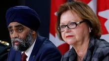 Canada's Defence Minister Harjit Sajjan (C) speaks during a news conference with Public Services and Procurement Minister Judy Foote (R) and Chief of Defence Staff General Jonathan Vance in Ottawa, Ontario, Canada, November 22, 2016. REUTERS/Chris Wattie (CHRIS WATTIE/REUTERS)