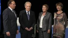 CAQ Leader Francois Legault, Liberal Leader Jean Charest, PQ Leader Pauline Marois and Quebec Solidaire co-leader Françoise David before a leaders' debate on Aug.19, 2012. (Reuters)