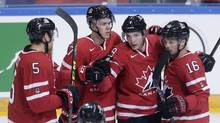 Canada's Matt Duchene, 2nd right, celebrates scoring against the Czech Republic with teammates during their friendly match in Prague, Czech Republic, on May 3, 2016. Duchene is one of at least five returning players from last year's gold-medal team when they hit the ice at the 2017 IIHF world championship. (Petr David Josek/THE ASSOCIATED PRESS)