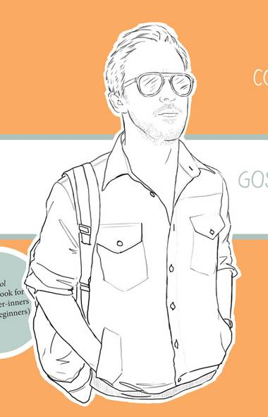 Cover page from a colouring book based on the likeness of actor Ryan Gosling.