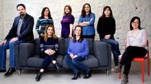 This group shot shows various female members of startup incubator TandemLaunch headed by Helge Seetzen, far left. Front row: Afsoon Soudi, Emilie Boutros, Gina Zhou. Back row: Mavi Ruiz-Blondet, Negar Ghourchian, Meryeme Lahmani, Bahar Partov. (SARAH MONGEAU-BIRKETT FOR THE GLOBE AND MAIL)