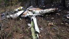 A wing is pictured amongst the wreckage of a Cessna Citation seen in the woods near Lake Country, B.C., in this Oct. 15, 2016, photo. (THE CANADIAN PRESS)