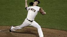 San Francisco Giants' Tim Lincecum throws during the seventh inning of Game 1 of baseball's World Series against the Detroit Tigers Wednesday, Oct. 24, 2012, in San Francisco (Jeff Chiu/AP)