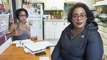 Cassandra Desmond, left, and her sister Chantel Desmond are seen in Antigonish, N.S. on Wednesday, June 14, 2017. Their brother, Lionel Desmond, a 33-year-old veteran of the war in Afghanistan who suffered from post-traumatic stress disorder, took his own life after shooting his 52-year-old mother, his wife Shanna, 31, and their 10-year-daughter Aaliyah. (Andrew Vaughan/THE CANADIAN PRESS)