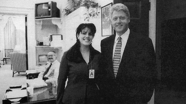 A 1995 White House photo of President Bill Clinton and intern Monica Lewinsky. The photo was part of 3,183 pages of evidence chronicling his relationship with Monica Lewinsky in explicit detail.