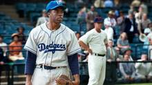 Newcomer Chadwick Boseman, as Jackie Robinson, is straitjacketed into a role with scant room to act anything but noble. (D. Stevens/AP)