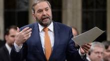 NDP Leader Tom Mulcair asks a question during question period in the House of Commons on Parliament Hill in Ottawa on Thursday, Jan. 28, 2016. Mulcair and an NDP critic are expressing concern over a published interview where Canada's heritage minister appeared to leave open the possibility that the Liberals may back down from their campaign promise to raise the CBC's budget by $150 million. THE CANADIAN PRESS/Sean Kilpatrick