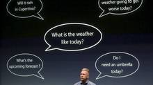 Philip Schiller, Apple's senior vice president of Worldwide Product Marketing, speaks about voice recognition on the iPhone 4S at Apple headquarters in Cupertino, California October 4, 2011. REUTERS/Robert Galbraith (UNITED STATES - Tags: SCIENCE TECHNOLOGY BUSINESS) (ROBERT GALBRAITH/ROBERT GALBRAITH/REUTERS)