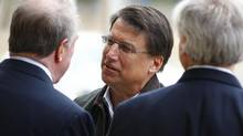 North Carolina Republican gubernatorial candidate, former Charlotte Mayor Pat McCrory meets supporters outside Myers Park Traditional Elementary school during the U.S. presidential election in Charlotte, North Carolina November 6, 2012. (CHRIS KEANE/REUTERS)