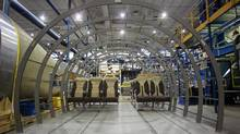 Seats being tested for fit in a C series fuselage interior (Christinne Muschi For The Globe and Mail)