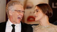 "Director David Cronenberg and Keira Knightley attend the ""A Dangerous Method"" premiere at the Venice Film Festival on Friday, Sept. 2. (Frederic Nebinger/Getty Images)"