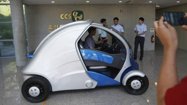 The Armadillo-T, a foldable electric vehicle, at the Korea Advanced Institute of Science and Technology (KAIST) in Daejeon, south of Seoul September 2, 2013. (KIM HONG-JI/REUTERS)