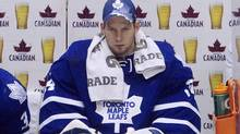 Toronto Maple Leafs goaltender James Reimer sits on the bench after being pulled during third period NHL action against the Tampa Bay Lightning in Toronto Monday, March 14, 2011. (CP)