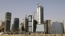 A view shows the construction of the King Abdullah Financial District, north of Riyadh, Saudi Arabia, April 11, 2016. (Faisal Nasser/REUTERS)