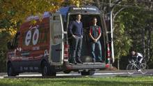 Velofix offers bicycle repair at the customer's home or office. Pictured is CEO Chris Guillemet, left, and franchisee Nick Di Cristofaro. (Pawel Dwulit/The Globe and Mail)
