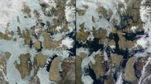 """A before and after shot of the rapidly retreating sea ice in the McClure Strait and Parry Channel, part of the famous """"northwest passage"""". (Moderate Resolution Imaging Spectroradiometer (MODIS)/NASA)"""