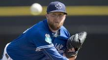 Toronto Blue Jays' Drew Storen pitches against the Baltimore Orioles in Dunedin, Fla., on March 4. (Frank Gunn/THE CANADIAN PRESS)