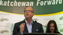 Saskatchewan Party Leader Brad Wall speaks to supporters in Saskatoon on Oct. 10, 2011. (Liam Richards/THE CANADIAN PRESS)