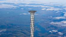 The final part of the 20 km tall space elevator platform recently patented by Thoth Technology of Pembroke, Ont. is shown in this artist's concept. (HO/THE CANADIAN PRESS)