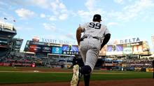 Aaron Judge of the New York Yankees takes to the field at Yankee Stadium to play the Toronto Blue Jays on May 2, 2017. (<240>Elsa/Getty Images)