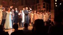 "In this image made from a video provided by Hamilton LLC, actor Brandon Victor Dixon who plays Arron Burr, the nation's third vice president, in ""Hamilton"" speaks from the stage after the curtain call in New York, Friday, Nov. 18, 2016. Vice President-elect Mike Pence is the latest celebrity to attend the Broadway hit ""Hamilton,"" but the first to get a sharp message from a cast member from the stage. (Hamilton LLC via AP)"