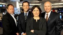 CBC political panel, from left: Allan Gregg, Andrew Coyne, Chantal Hebert, and Peter Mansbridge. (CBC)