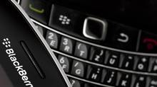 Research in Motion Ltd. BlackBerry smartphone handsets are pictured in this illustration picture taken on July 21, 2012. (Valentin Flauraud/Reuters)