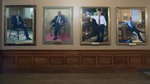 Portraits of past Ontario premiers hang on the second floor walls at the Ontario Legislature on March 24 2016. From left are William Davis, Frank Mills, David Peterson and Bob Rae. (Fred Lum/The Globe and Mail) (Fred Lum/The Globe and Mail)