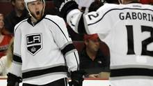 Los Angeles Kings' Jake Muzzin (6) reacts after scoring a goal during the third period in Game 2 of the Western Conference finals Wednesday, May 21, 2014. (Nam Y. Huh/AP)