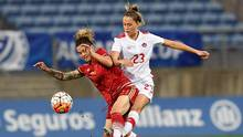Spain's midfielder Maria Pilar Leon (L) vies with Canada's midfielder Jordyn Huitema during the Algarve Cup Final football match Spain vs Canada at Algarve stadium in Faro on March 8, 2017. (FRANCISCO LEONG/AFP/Getty Images)