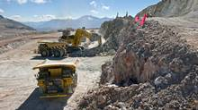 Work is underway at the future open pit area of the Pascua-Lama mine. (Barrick Gold)