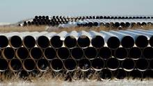 A depot used to store pipes for Transcanada Corp's planned Keystone XL oil pipeline is seen in Gascoyne, North Dakota, on November 14, 2014. Canada needs a single federal authority to assess the potential impact of major projects such oil pipelines and mines, a move that could help quell environmental protests, an official panel said on Wednesday. (© Reuters Photographer / Reuter)