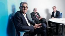 Former Rogers CEO Nadir Mohammed, left, and now chairman of ScaleUP Ventures, poses with company board member Sheldon Levy and general partner Kent Thexton about the new company's plans in Toronto on November 28, 2016. (Glenn Lowson For The Globe and Mail)