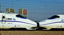 High-speed trains on the railway in Hangzhou, in eastern China's Zhejiang province. (AFP/GETTY IMAGES)