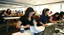 Ernst & Young employees attend a training session at the company's Toronto offices. (Fernando Morales/The Globe and Mail)