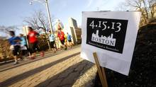 Runners participate in a memorial run in tribute to the the victims of the Boston Marathon bombing in Toronto, April 16, 2013. (MARK BLINCH/REUTERS)