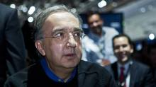 Chrysler Chairman Sergio Marchionne sits for Chrysler's press conference, Monday, Jan. 13, 2014, at the North American International Auto Show in Detroit, Mich. (Tony Ding/AP)