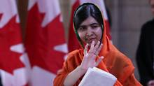 Nobel Peace Prize winner Malala Yousafzai leaves Parliament after receiving honorary Canadian citizenship on April 12, 2017. (Lars Hagberg/AFP/Getty Images)
