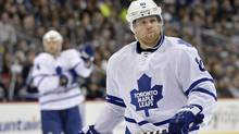 Toronto Maple Leafs' Phil Kessel gets ready for a face off against the Winnipeg Jets during the second period of their NHL hockey game in Winnipeg March 12, 2013 (Reuters)