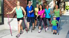 Nordic pole walking exercises the upper body with the use of modified ski poles. (Urban Poling Inc.)