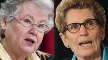 Conservative Senator Nancy Ruth, left, has come out in support of Kathleen Wynne's bid for the Ontario Liberal leadership. (SEAN KILPATRICK, FRED LUM/THE CANADIAN PRESS/THE GLOBE AND MAIL)