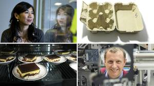 Clockwise from top left: Neurio sensor inventor Janice Cheam (Rafal Gerszak for The Globe and Mail), a standard egg carton, UVic engineer Colin Bradley (UVic photo services), Nanaimo bars (Flickr user zemistor).