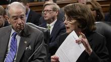 Senate Judiciary Committee Chairman Sen. Charles Grassley, R-Iowa listens as the committee's ranking member Sen. Dianne Feinstein, D-Calif. requests a one week postponement for the panel to vote on Supreme Court nominee Neil Gorsuch. (J. Scott Applewhite/AP)